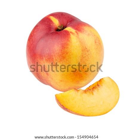 whole nectarine and nectarine segment isolated on white background - stock photo