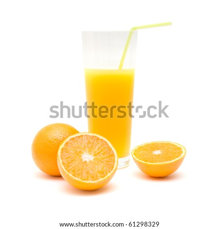 whole orange, orange cut in half and  a glass of orange juice with a straw, isolated on white - stock photo
