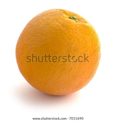 Whole Orange: Straight Product Shot taken in Studio in Natural Light isolated against White Background - stock photo