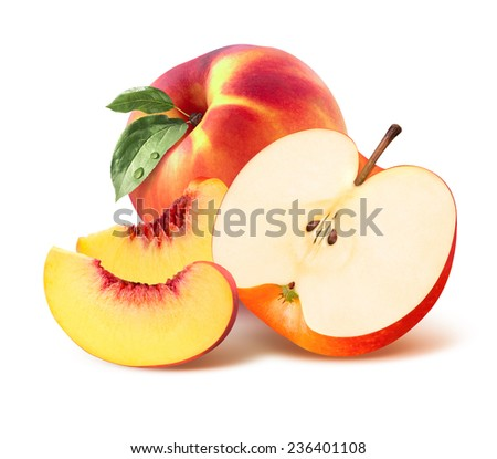 Whole peach, quarter and apple half isolated on white background as package design element - stock photo