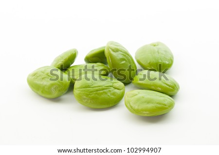 Whole petai beans isolated on white background