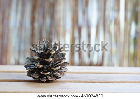 Whole pine cone on wooden table