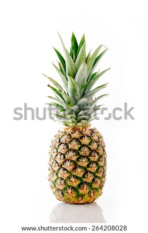 Whole pineapple isolated on white - stock photo