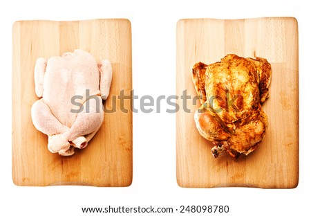 whole raw chicken and grilled whole chicken on wood over white background like a concept before and after - stock photo