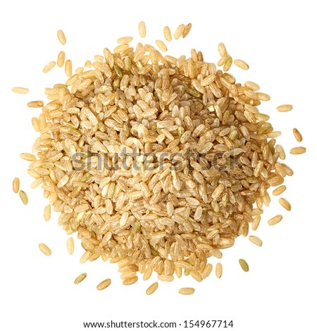 Whole rice pile from top on white background - stock photo