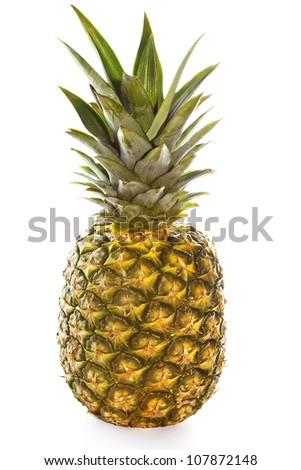 Whole ripe pineapple isolated on white background - stock photo
