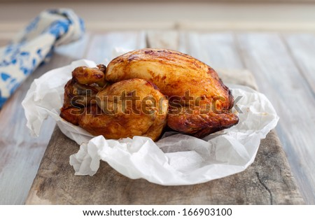 Whole roast chicken - stock photo