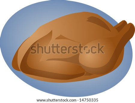 Whole roast chicken cooked food illustration clipart