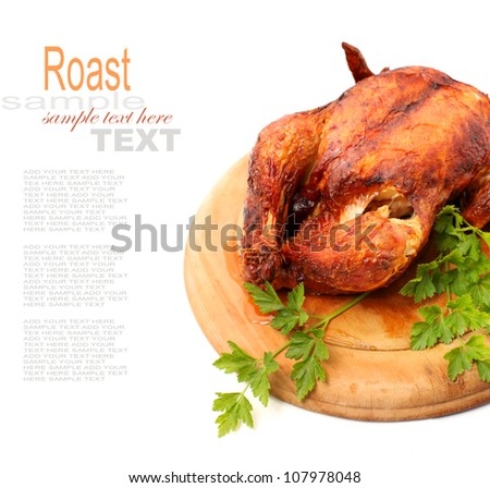whole roasted chicken isolated on white - stock photo