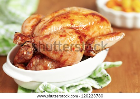 Whole Roasted Chicken with Spice - stock photo