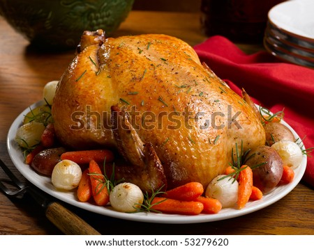 Whole Roasted Chicken with Vegetables - stock photo