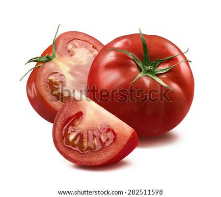 Whole tomato, half and quarter piece isolated on white background as package design element
