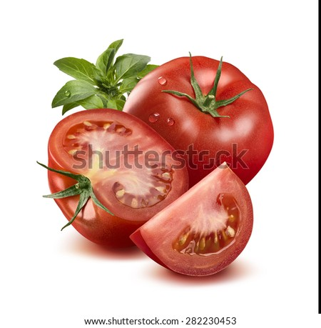 Whole tomato in water drops, half, quarter and basil leaves isolated on white background as package design element