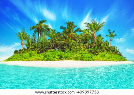 Whole tropical island within atoll in tropical Ocean. Uninhabited and wild subtropical isle with palm trees. Equatorial part of the ocean, tropical island resort. - stock photo