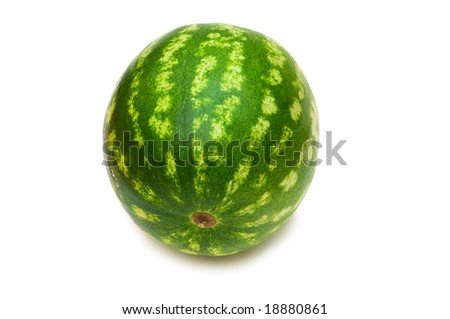 Whole watermelon isolated on the white background