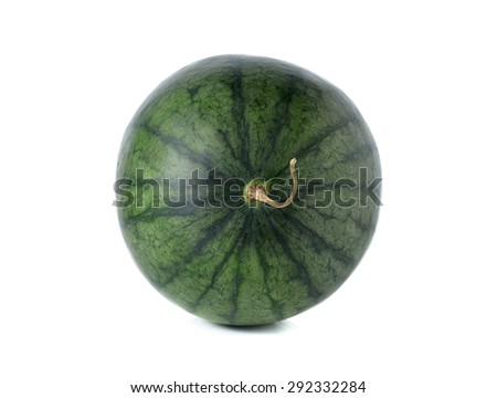 whole watermelon with stem on white background