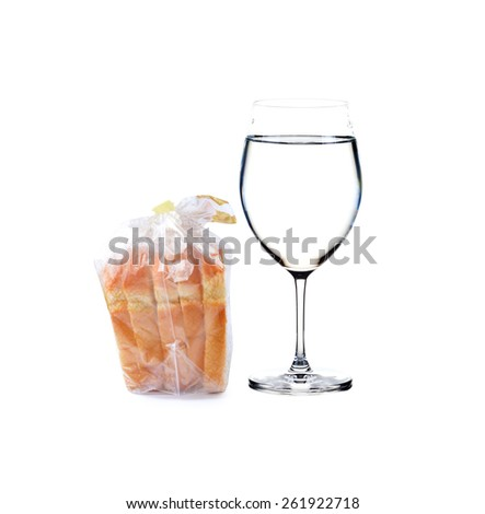 whole wheat bread and water  - stock photo