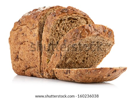 whole wheat bread, isolated on white background - stock photo
