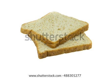 whole wheat bread, isolated on white background