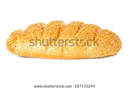 whole wheat bread, long loaf, isolated on white background - stock photo