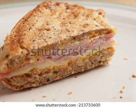 Whole wheat bread sanwi?h with ham and cheese - stock photo