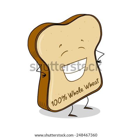 Whole Wheat Bread Slice; Bread slice cartoon  - stock photo