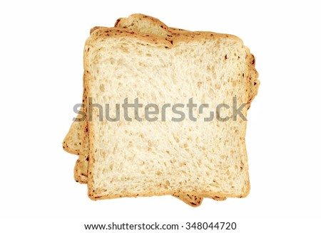 Whole wheat bread slices on white background, Isolate image