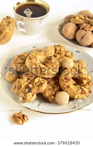 Whole wheat cookies with walnuts, homemade, vertical