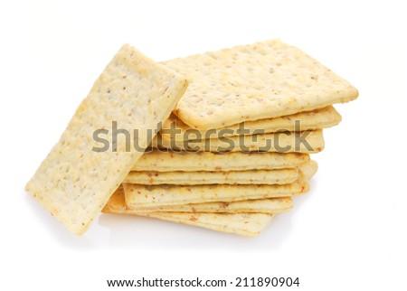 Whole wheat flour crackers - stock photo