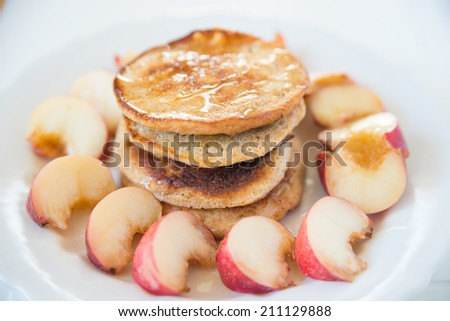 Whole Wheat Pancakes with fresh fruit - stock photo