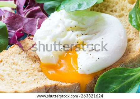 Whole wheat toast with poached egg, runny egg yolk and fresh green salad leaves. Close up healthy food image - stock photo