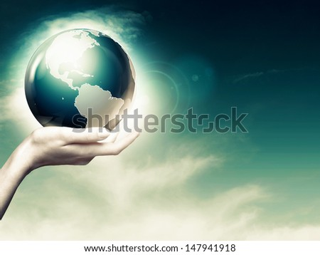 Whole world in your hands, abstract environmental backgrounds - stock photo