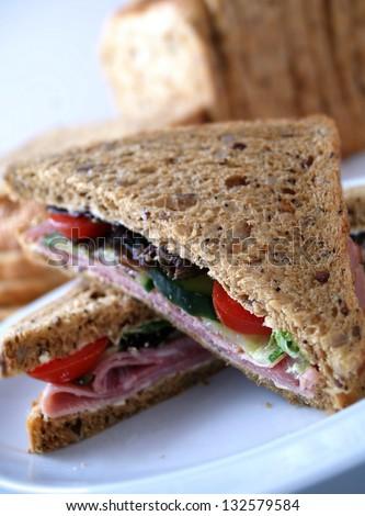 wholegrain bread sandwich - stock photo