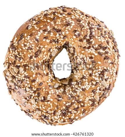 Wholemeal Bagels (selective focus; detailed close-up shot) isolated on white background