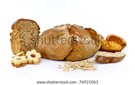 Wholemeal bread and cookies - stock photo