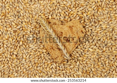 Wholemeal bread in the shape of a heart surrounded by barley grains with a barley ear - stock photo