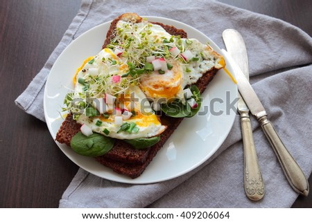 Wholemeal bread with poached egg and fresh vegetables - stock photo