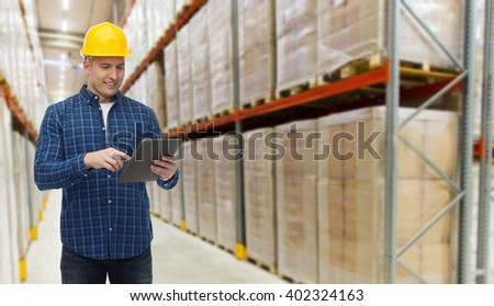 wholesale, logistic, business, export and people concept - happy man or manager with tablet pc computer checking goods over warehouse background