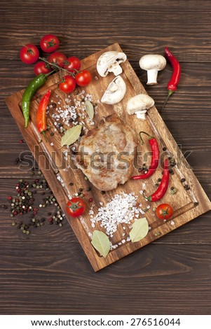 Wholesome platter of meats, grilled steak - stock photo
