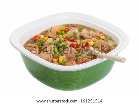 wholesome stew casserole on a white background with a clipping path included. - stock photo