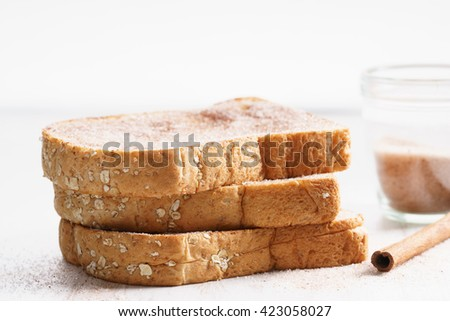 wholewheat bread toast with cinnamon sugar