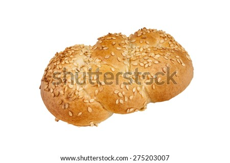 Wholewheat bun isolated on a white background.