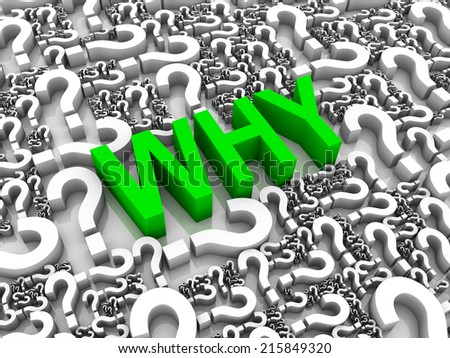 WHY 3D text surrounded by question marks. Part of a series. - stock photo