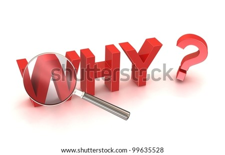 why reason cause source search button 3D text button icon question solve crime investigation answer on the question. Red text with magnifying glass. - stock photo