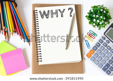 why text message on white paper and office supplies, pen, paper note, on white desk , copy space / business concept / view from above, top view - stock photo