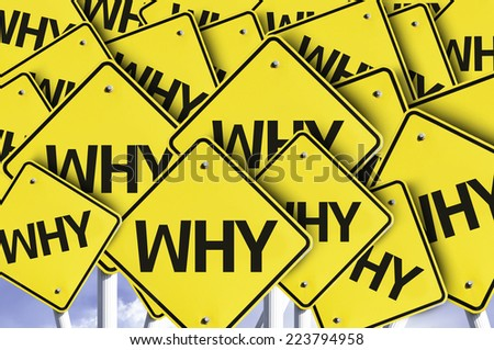 Why written on multiple road sign - stock photo