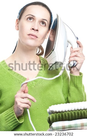 Why you shouldn't call when she is ironing. - stock photo