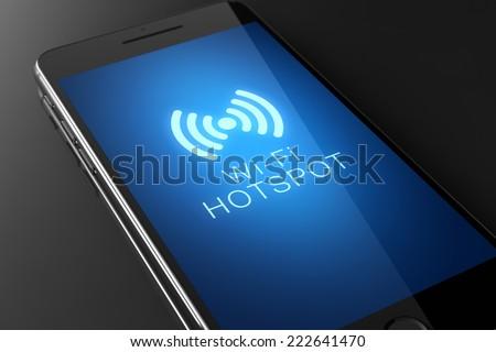 Wi-fi hotspot icon on smart phone screen - stock photo
