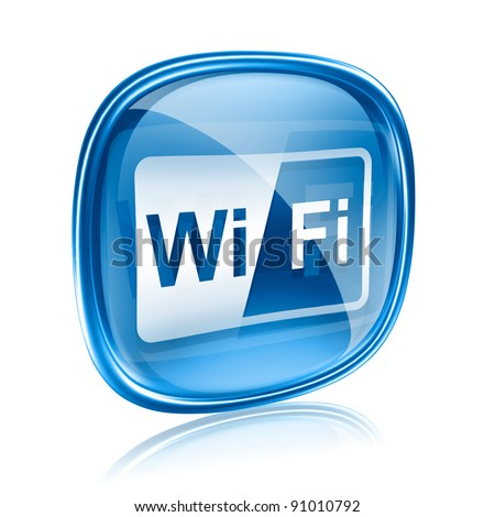 WI-FI icon blue glass, isolated on white background - stock photo