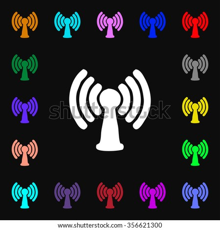 Wi-fi, internet icon sign. Lots of colorful symbols for your design. illustration - stock photo